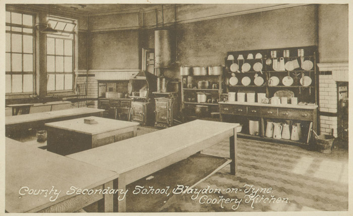 A typical school cookery class kitchen at Blaydon