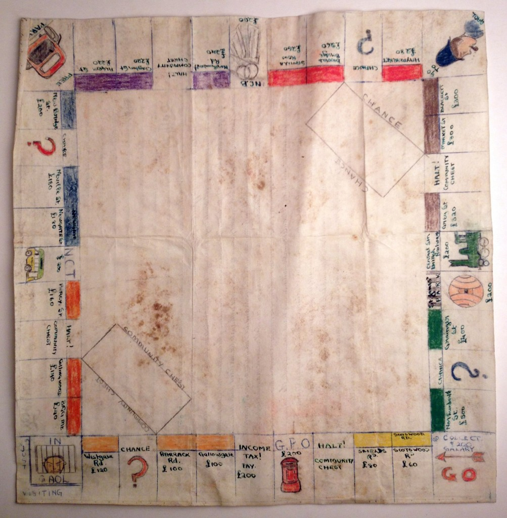 The home-made Monopoly board