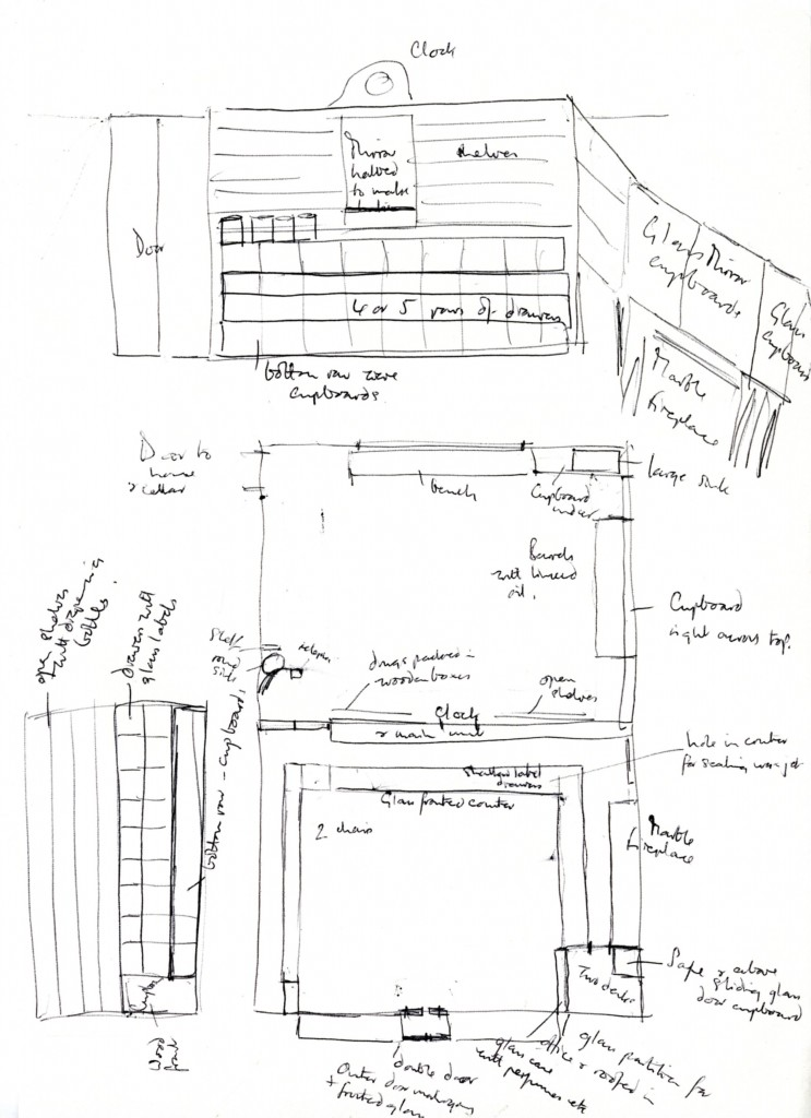 Sketch by James Hall showing the layout of the 'Hallaway's' shop fittings.