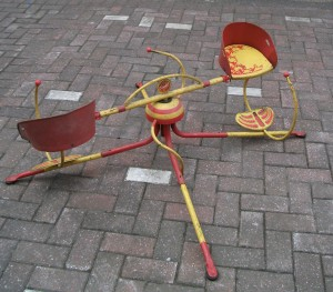 We put this Merry-Go-Round back together and it still works nicely - although sadly we are too large to play on it.