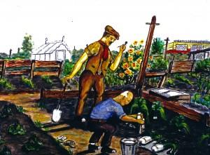 Howicking preparing leeks on Show Day, Alexandra Road, Barrington - by James Mackenzie