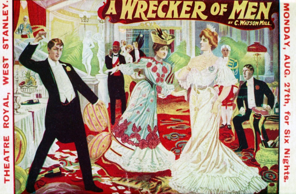 "68616 - Postcard advertisement for production of ""A Wrecker of Men"" by C Watson Hill at the Theatre Royal, West Stanley."