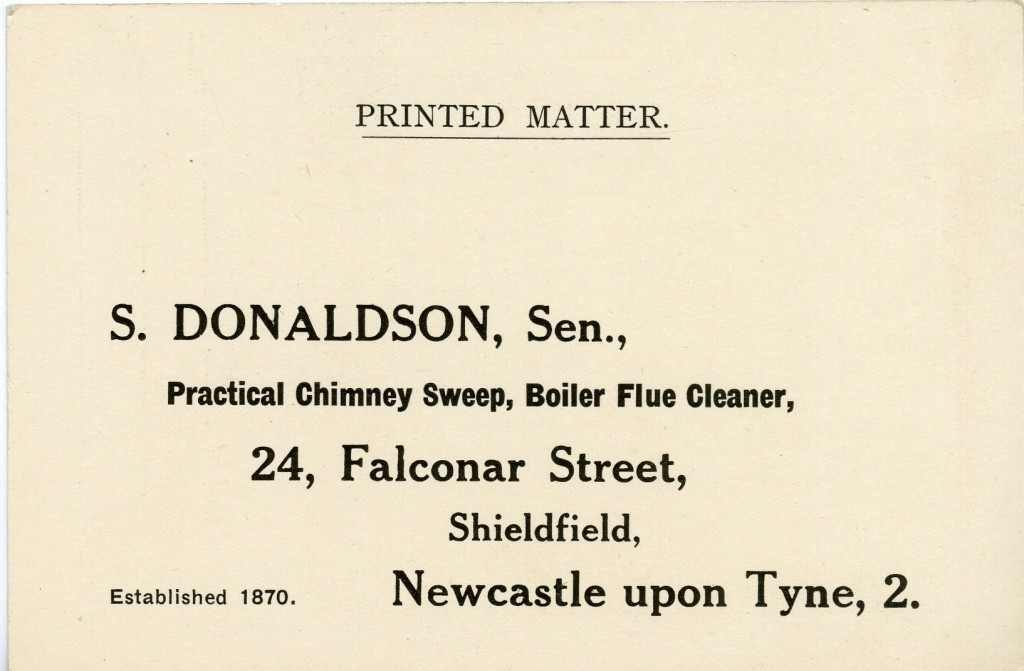 Reverse of Donaldson's business postcard.